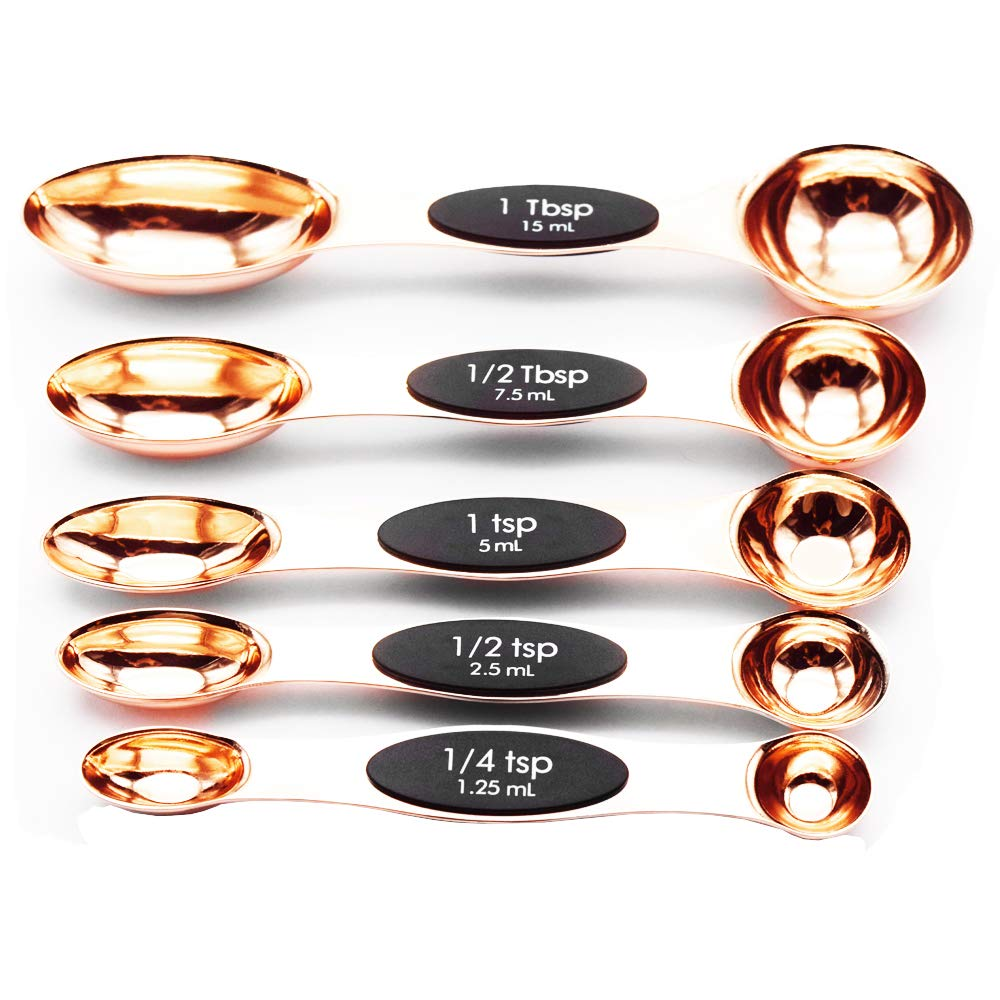 Magnetic Stainless Steel Measuring Spoons, Set of 5, Rose Gold Multifunctional Teaspoon and Tablespoon BPA Free Double End Nesting for Home Kitchen,Baking Supplies, Cooking Tools, A Lovely Gift Lumiwise