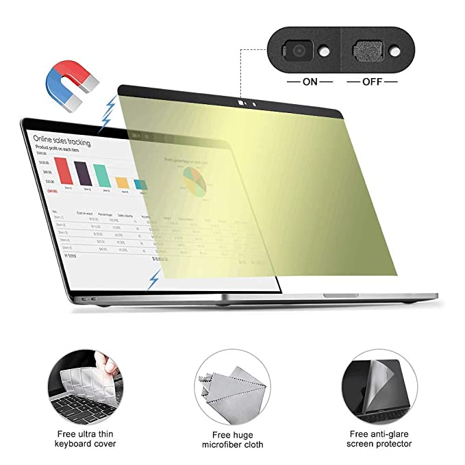 A1706//A1708//A1989 MoKo Magnetic Privacy Screen Protector Compatible with MacBook Pro 13.3 inch //2018 MacBook Air 13.3 inch Black A1932 Anti-Glare /& Blue Light Blocking MacBook Screen Filter
