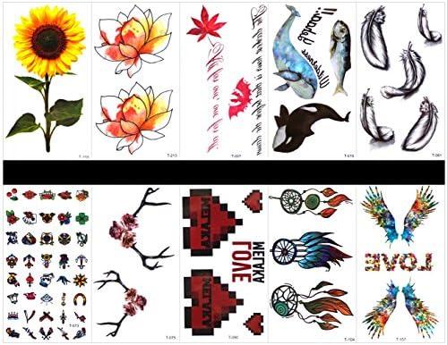 tatuajes falsos reales en 1 paquete, incluyendo ballena, pluma ...