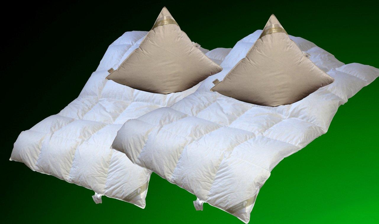 Betten Hofmann 2 Stück Set leichte Kassetten Daunendecke 4x6, 155x220 cm + Kissen 80x80cm Doppelpack