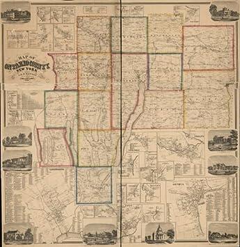 Amazon.com: 1859 Map of Ontario County, New York - Size ... on