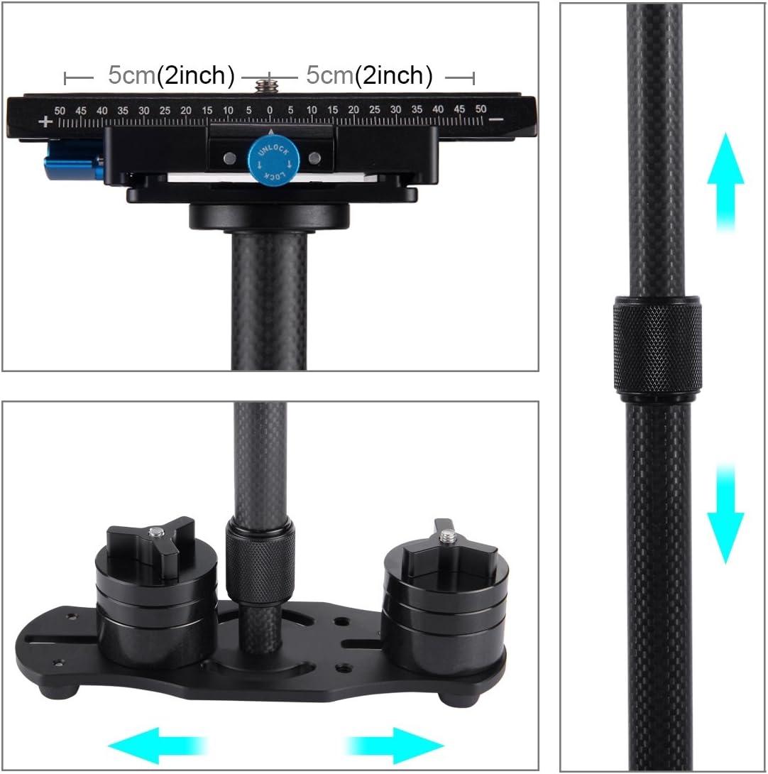Color : Black Load Range: 0.5-3kg Black SHENGMASI Camera Stabilizer 38.5-61cm Carbon Fibre Handheld Stabilizer for DSLR /& DV Digital Video /& Cameras