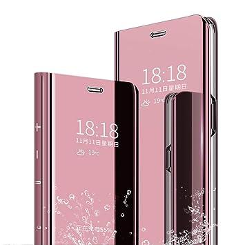 TenYll Funda para Samsung Galaxy A50, Flip Cover Carcasa, Inteligente Case [Soporte Plegable] Caso Duro con del sueño/Despierte Función -Oro Rosa