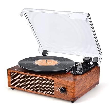 Reproductor de Discos de Vinilo Giratorio Wockoder: Amazon ...