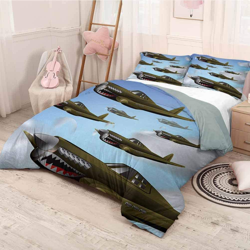 prunushome Airplane 3 Piece Duvet Cover Comforter Set Fighter Aircrafts Up in Air Flight Machinery Wings Illustration Technology Printing Bedclothes Decor Blue Green Grey Twin