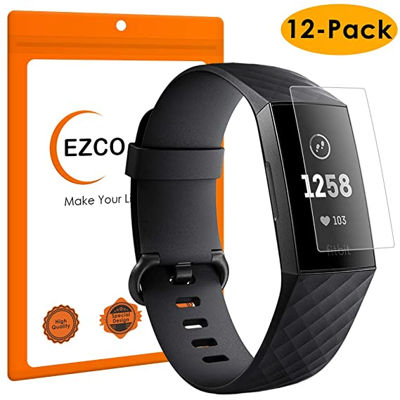 EZCO Compatible Fitbit Charge 3 Screen Protector (12-Pack), Full Coverage  Screen Protector Cover Soft Film Compatible Fitbit Charge 3 / Charge 3 SE