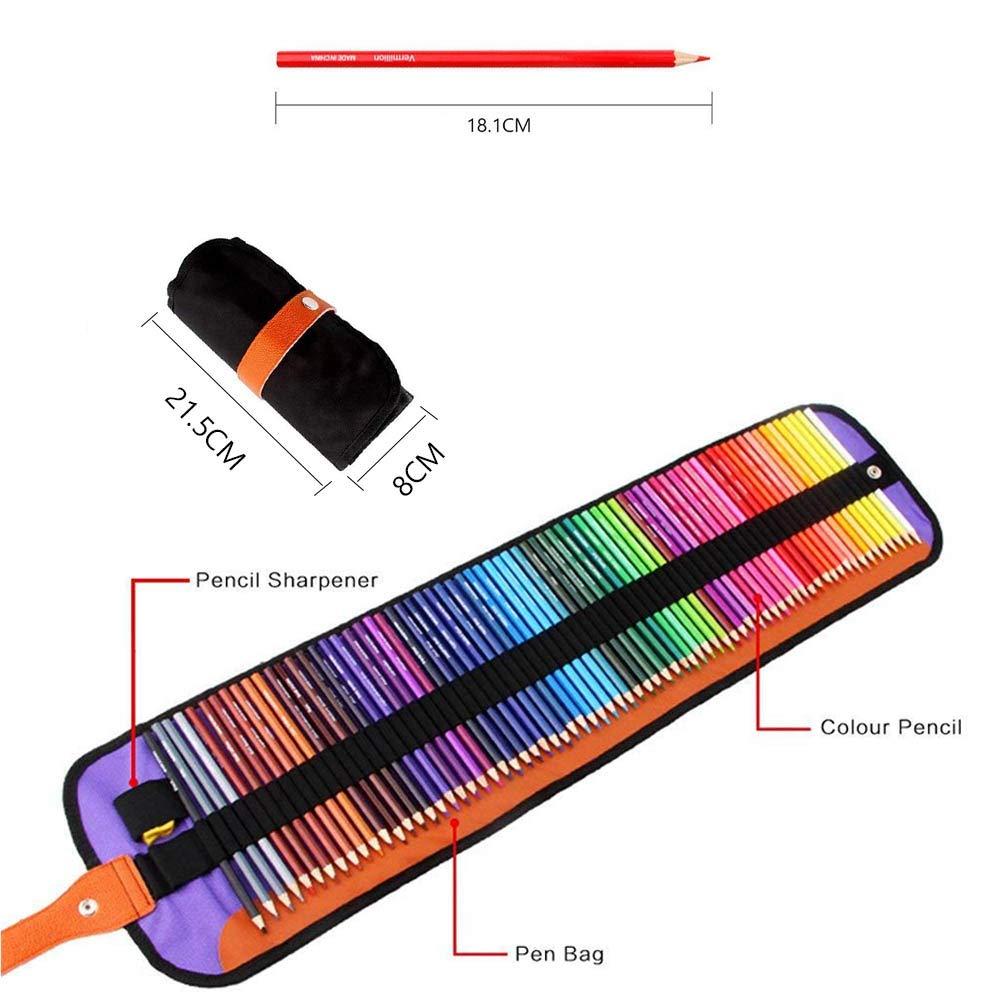 Crayons de Couleur Premium GLEADING Ensemble de 72 Couleurs Avec un Sac /à Rouler en Toile et un Taille-Crayon.