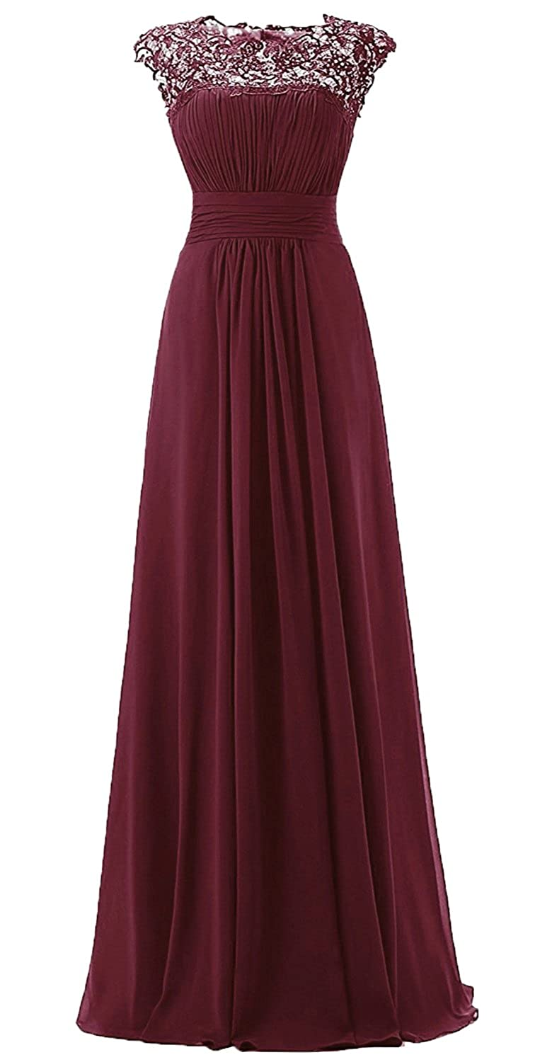 HEAR Womens Chiffon Appliques Beaded Prom Gown Lace Long Open Back Formal Bridesmaid Evening Dresses Hear069