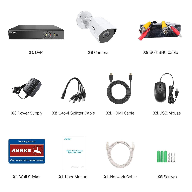 ANNKE 8CH 3MP DVR Kit videovigilancia Sistema de 8 C/ámaras de Seguridad 1920*1536P Metal con 2TB Disco Duro Acceso Remoto Visi/ón Nocturna 24 IR Leds IP66 Exterior//Interior