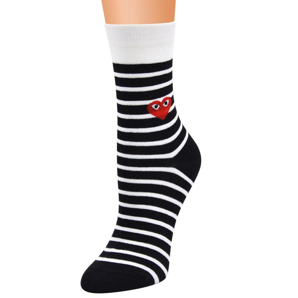 YAliDa 2019 clearance sale Women Cute Horizontal Love Pattern Lady Socks Tube Socks Striped Socks