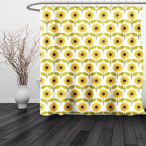 HAIXIA Shower Curtain Sunflower Sunflowers Pattern Autumn Country Style Decorating Retro Illustration Print Yellow White Green