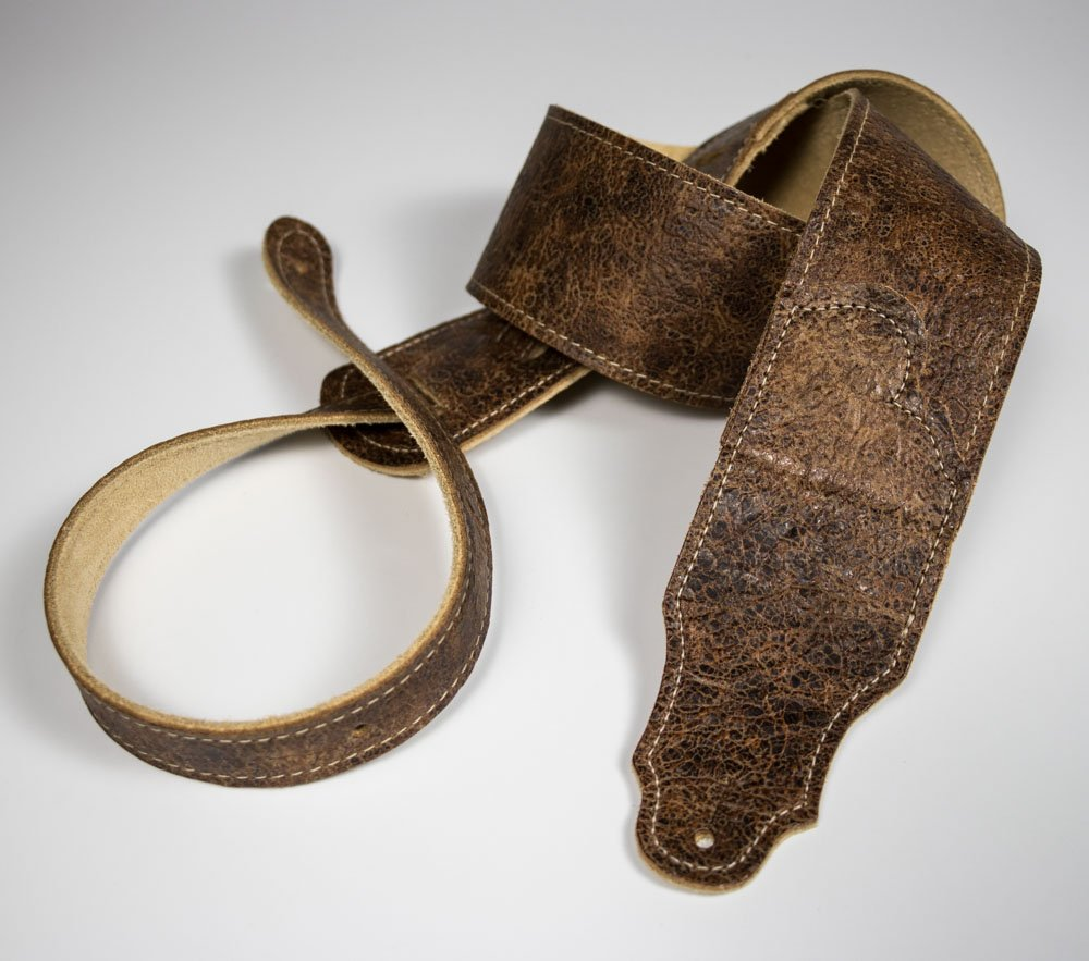 Roadhouse Distressed Leather Guitar Strap (Chocolate)