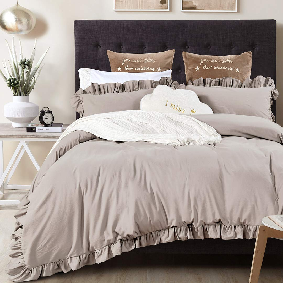 Queen's House Vintage Washed Cotton Duvet Cover Bedding Set Taupe More Grey King Size-Shabby Ruffle