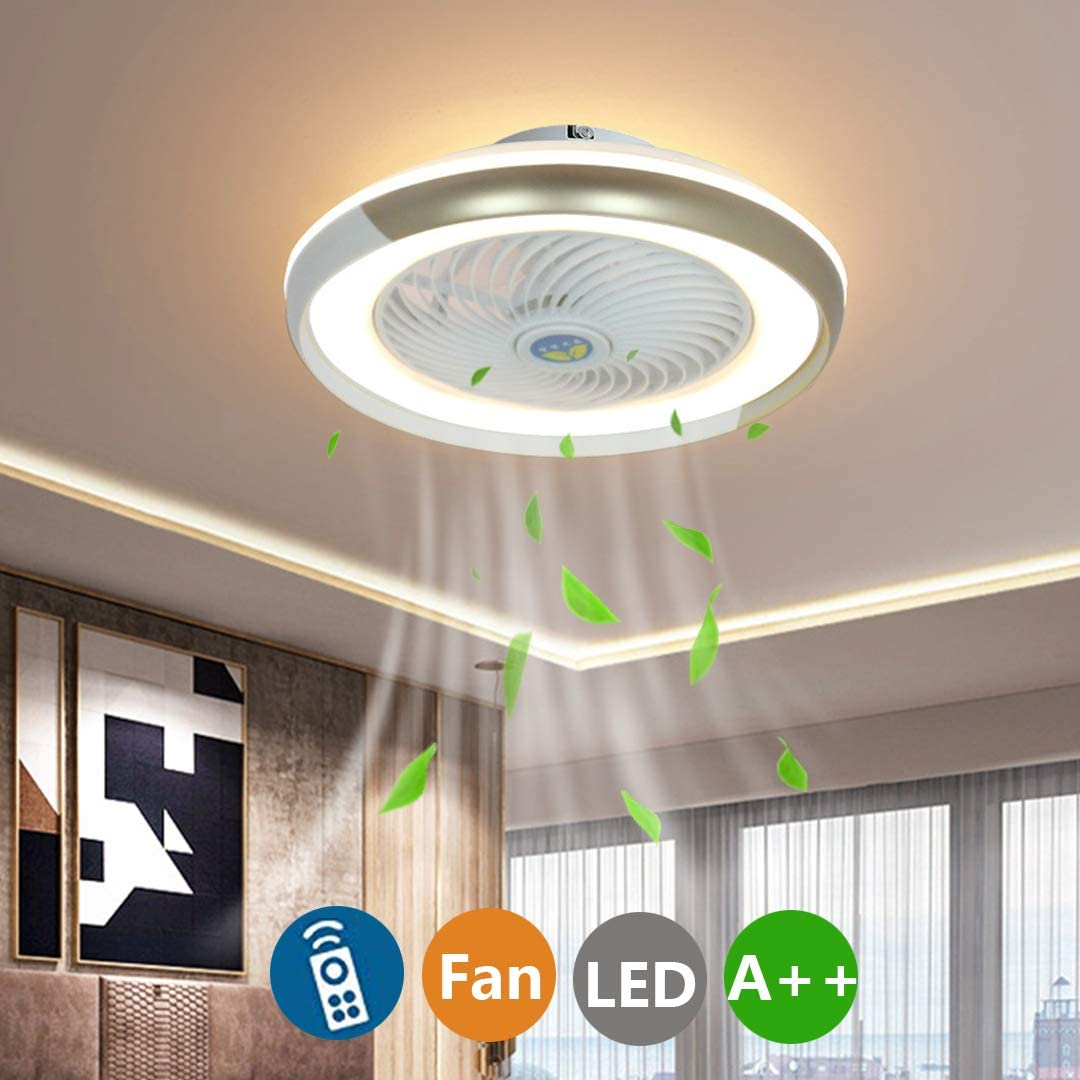 52W LED Moderno L/ámpara de Techo Ventiladores de techo con l/ámpara y Control Remoto Sala de Estar Silenciosa Invisible Dormitorio Habitaci/ón Infantil Ventilador L/ámpara de Techo /Ø50cm A-Negro