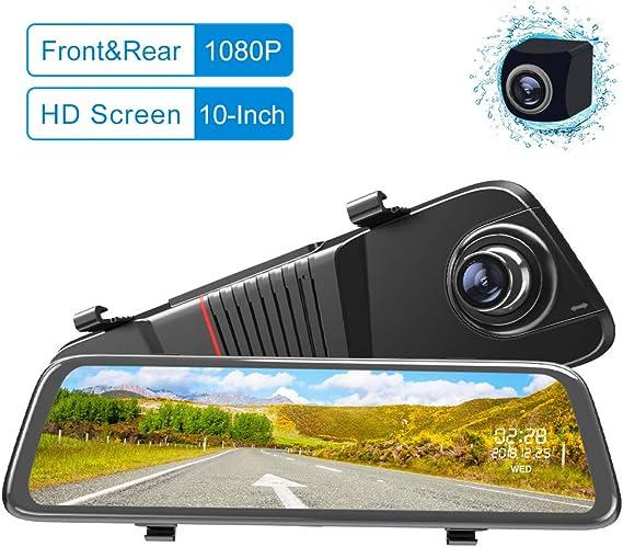 """10/"""" Car DVR Dual Lens HD 1080P 32G Rear View Mirror Video Recorder Dash Cam 140°"""