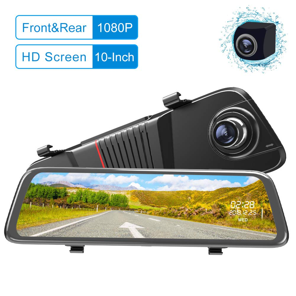 Mirror Dash Cam Backup Camera 10-Inch Double 1080P Full HD Touch Screen Dual Lens with Wide Angle 170° Front and 140° Waterproof Rear View Camera (10 Inch Double 1080P)