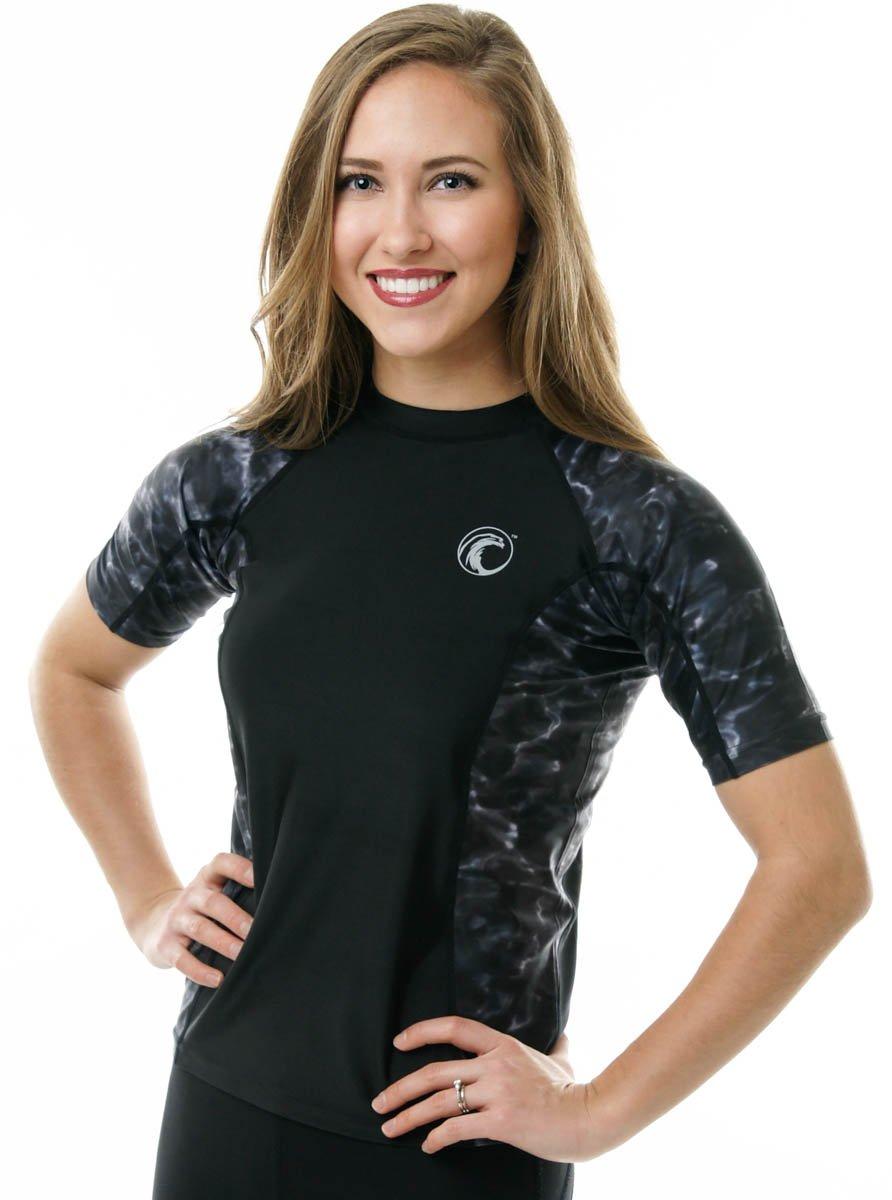 Aqua Design Women Short Sleeve Big Wave Surf Comfort Fit Rash Guard Swim Athletic UPF 50+ Shirt, Black Water/Black, Size Large