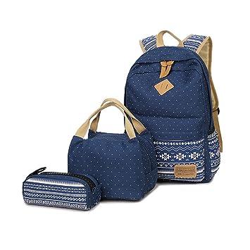 ... Escolares Casual Bolso Mochila de Viaje+Bolsa de almuerzo+Bolso de la pluma para Mujer Niñas Adolescents Señora (Azul oscuro): Amazon.es: Equipaje