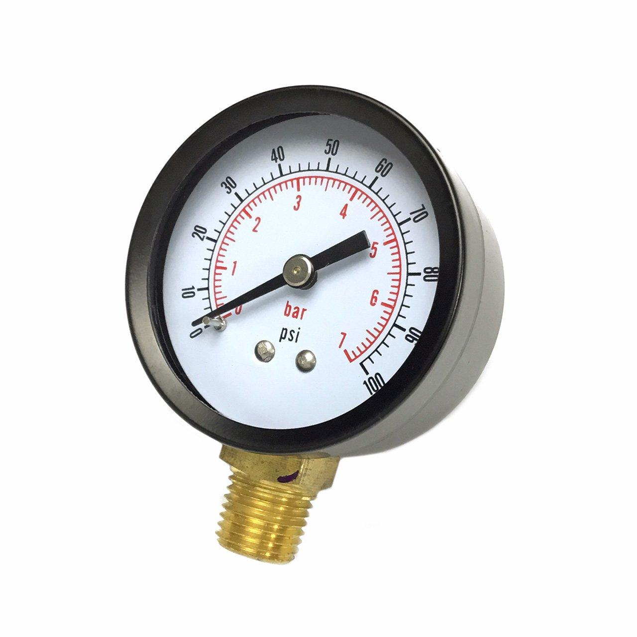 2 Pool Spa Filter Water Pressure Gauge Bottom Mount 1 4 Pipe Thread 0 100 PSI