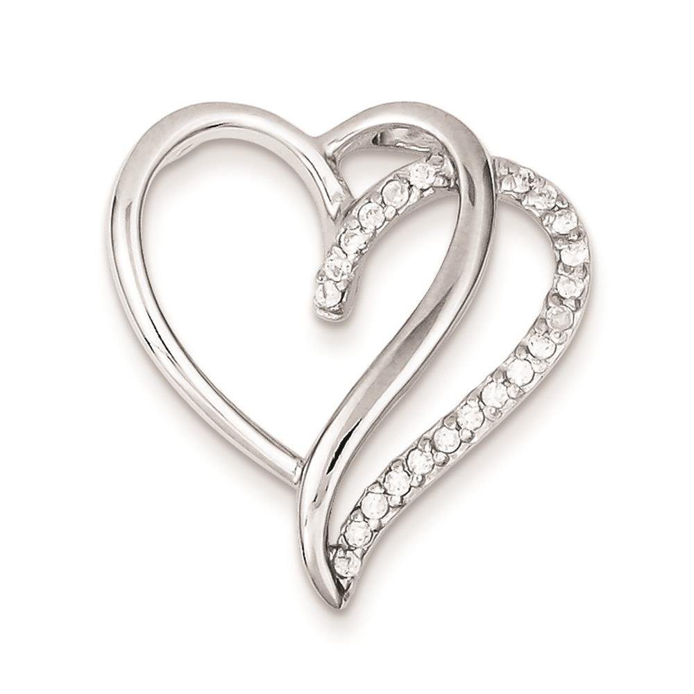 925 Sterling Silver Polished CZ Heart Chain Slide Charm Pendant 25mm x 24mm