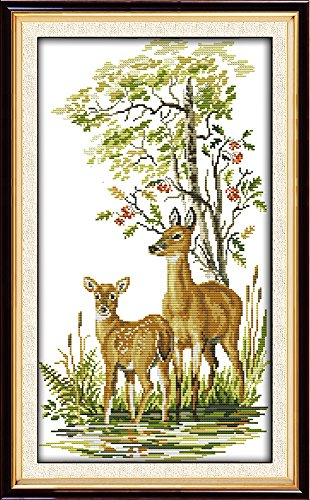 House Counted Cross Stitch - CaptainCrafts Hot New Cross Stitch Kits Needlecrafts Patterns Counted Embroidery Kit - Deer Mother And Daughter (WHITE)