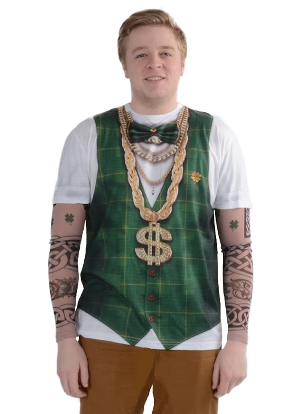 Faux Real Men's ST. Patrick's Day Lucky Shamrock Suit Long Sleeve Costume T-Shirt