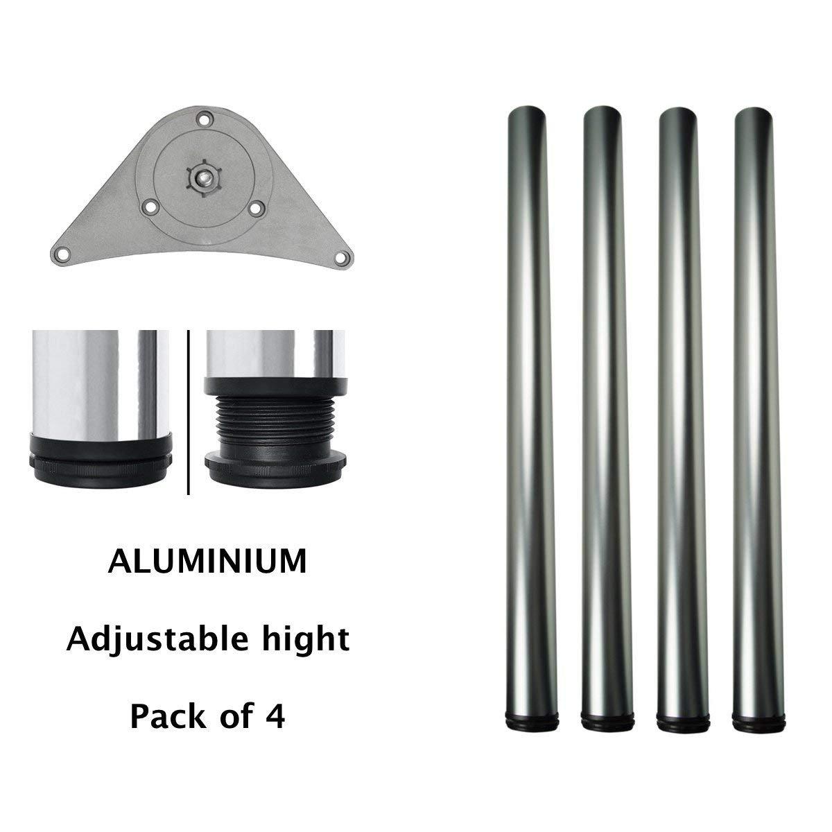 MKGT/® Tischbeine H/öhenverstellbar Set: 4 St/ück Einstellbar +2.5cm Design: Aluminium // Silber H/öhe: 87 cm 870 mm Montagezubeh/ör inklusive