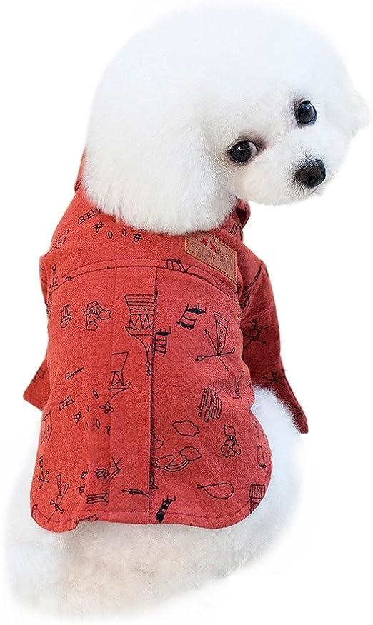 Conquro Perro Mascota Camisa Doodle Verano Perro T Camisa Chaleco El Verano Ropa Camisa del Perro para Perros pequeños Camisa del Perro Mascota (L, Vino Rojo): Amazon.es: Productos para mascotas