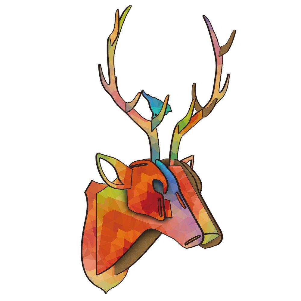 Dyalis DIY Wooden Furniture Animal Head Ornaments Reindeer 3D Wooden Crafts Wall Sculpture