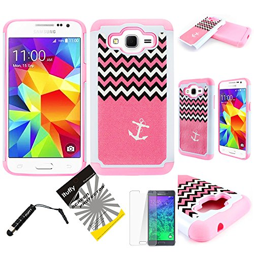 For AT&T Samsung Go Prime / Galaxy Grand Prime LTE G530 ITUFFY (TM) 3items Combo: Screen Protector + Stylus Pen + Dual Layer Impact Resistance Hybrid Armor Case (Pink Chevron Anchor Light Pink)