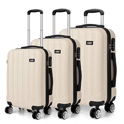 525ab2a459be Kono Luggage Sets of 3 Piece Lightweight 4 Wheels Hard Sheel ABS Travel  Trolley Suitcases (Beige)