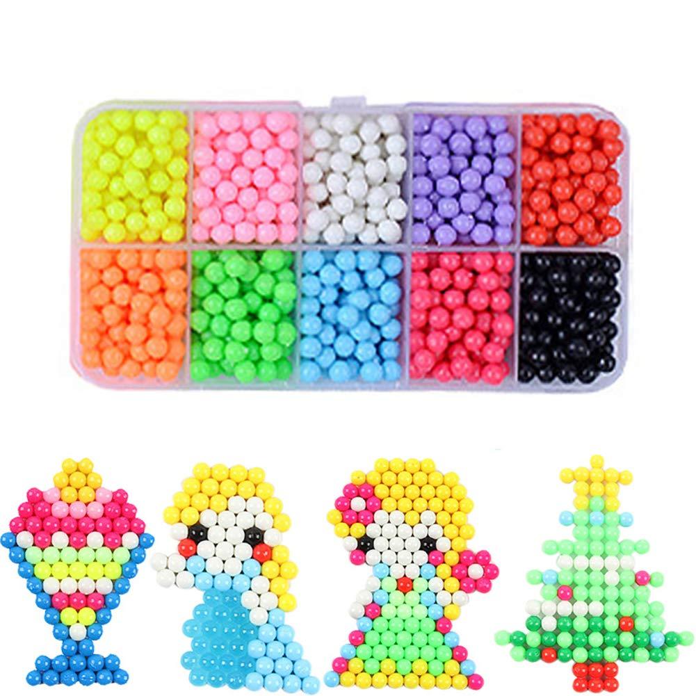 Hilai Fusibile magiche Perle Acqua appiccicoso Perline Arte Artigianato Giocattoli Kit con 10 Colori 1100 Perline per Bambini precoce Sviluppo di abilità per Oltre 3 Anni Vecchio