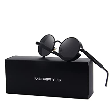 MERRY S Gothic Steampunk Sunglasses for Women Men Round Lens Metal Frame  S567 (Black, ... 8f387e16ea
