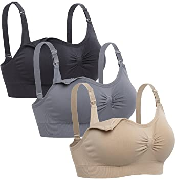 c103e21d451 Lataly Womens Sleeping Nursing Bra Wirefree Breastfeeding Maternity  Bralette Color Black Beige Grey Size S at Amazon Women's Clothing store: