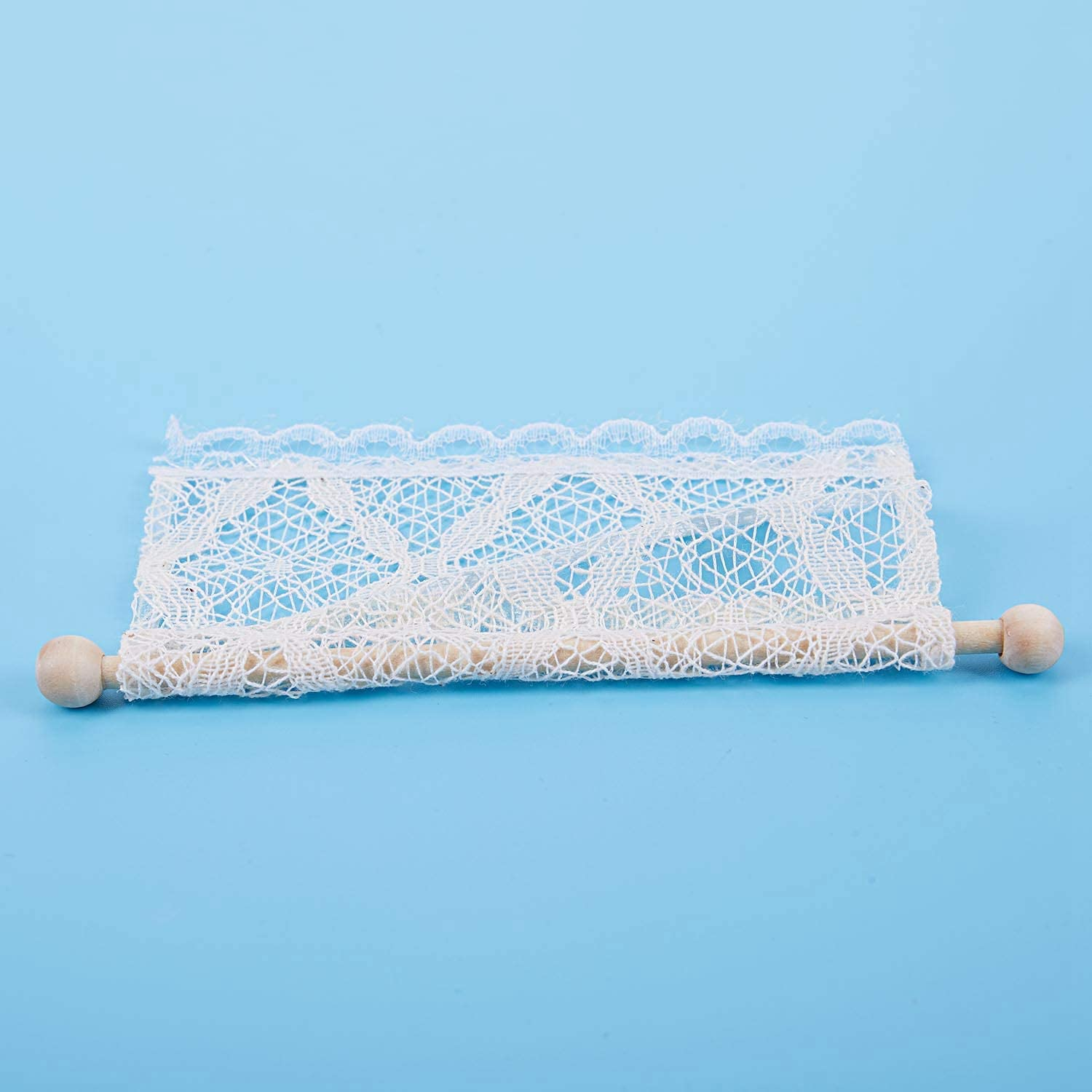Andifany Dollhouse Curtains Miniature Furniture Accessories Window Valance with Rod 1:12 Scale Beige