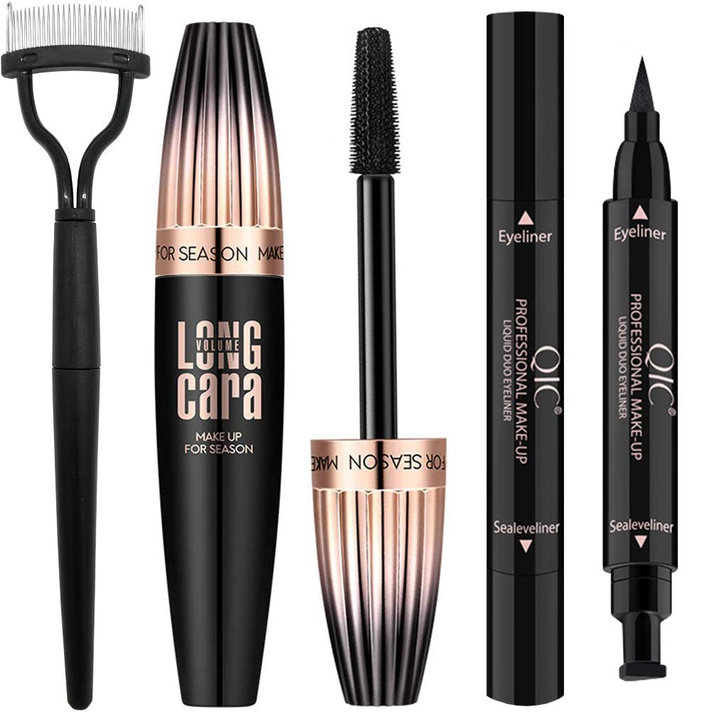 4D Silk Fiber Lash Mascara Waterproof Black with Eyeliner Stamp & Eyelash Comb