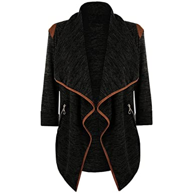 Echou Cardigan Sweaters for Women Long Sleeve with Zip Pockets Lady Casual Cardigan Jackets (M