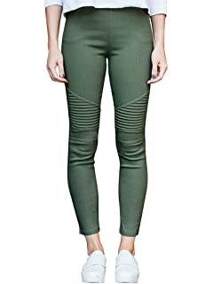d6fcaef785fbb6 Meilidress Womens High Waist Moto Jeggings Skinny Stretch Ankle Jeans  Leggings with Pockets