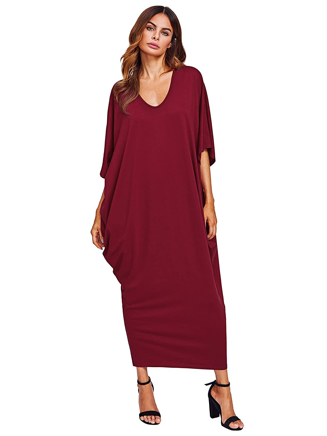 dfb1966f846 Verdusa Women s Casual Long Sleeve Oversized Loose Pocket Plus Size Maxi  Dress at Amazon Women s Clothing store