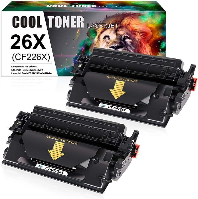 Cool Toner Compatible Toner Cartridge Replacement for HP 26X CF226X 26A CF226A Laserjet Pro MFP M426fdw M426fdn M426dw Laserjet Pro M402n M402dn M402dw M402 M402d 402n M426 Printer Ink (Black 2-Pack)