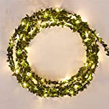 SUPOW Christmas Wreath Battery Operated Fairy String Lights, Leaf Garland Battery Operate Copper Wire for Christmas Wedding Decoration Party Event, Christmas Ornaments, Warm White (16.4FT)
