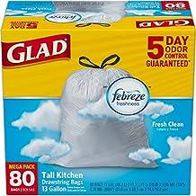 Glad OdorShield Tall Kitchen Drawstring Trash Bags, Fresh Clean, 13 Gallon, 80 Count ( Packaging May Vary)
