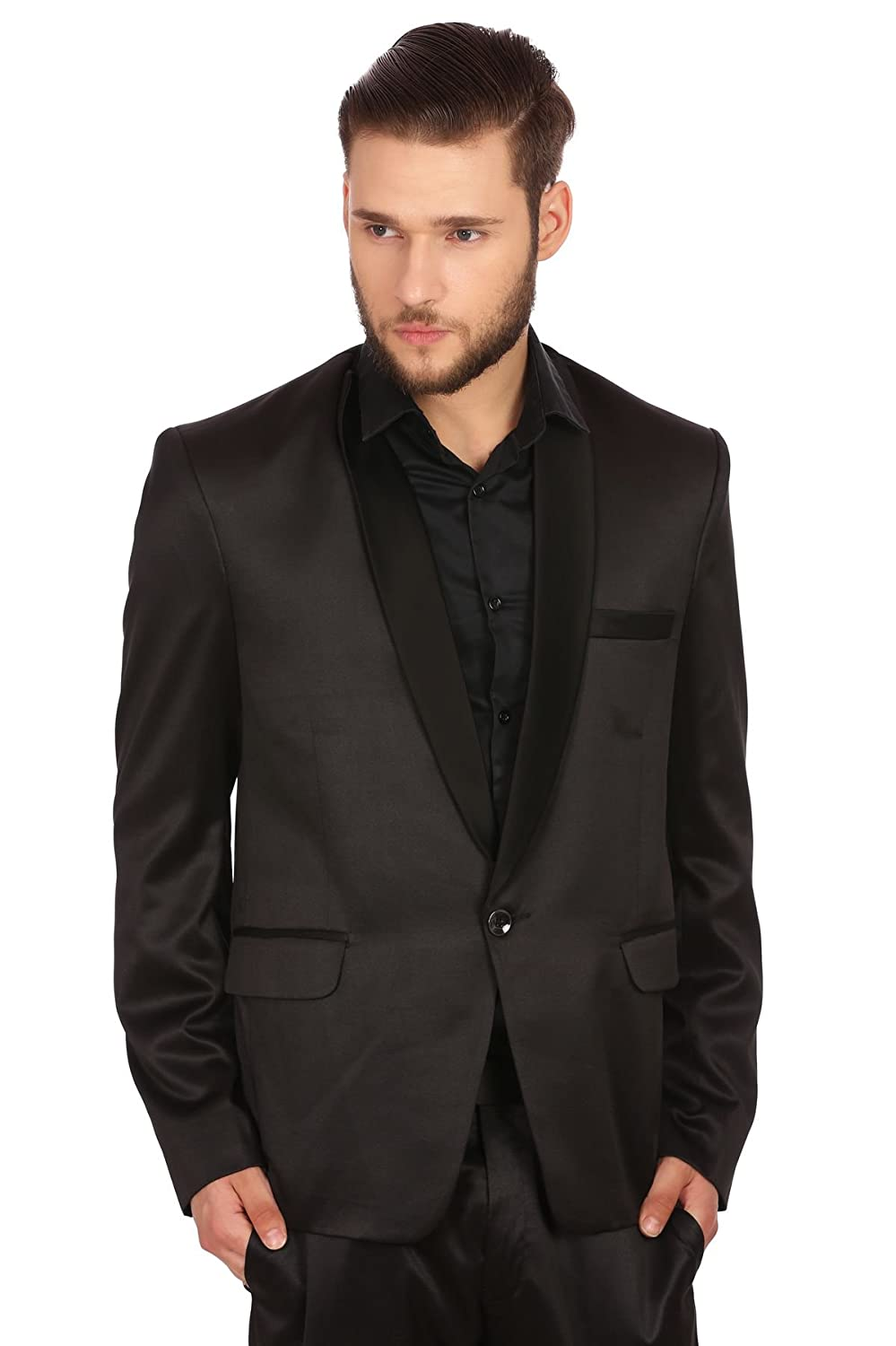 WINTAGE Men's Poly Blend Notch Lapel Tuxedo Blazer: Black xxBlacktuxblazers