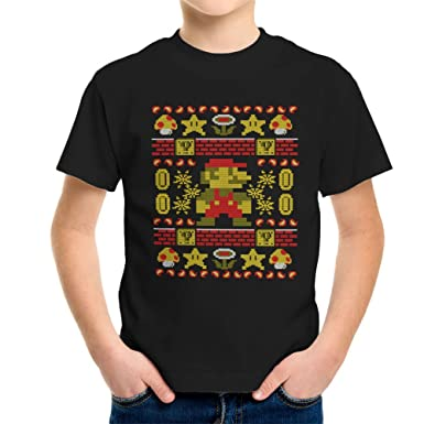 Super Ugly Mario Knit Pattern Kids T Shirt Amazon Clothing
