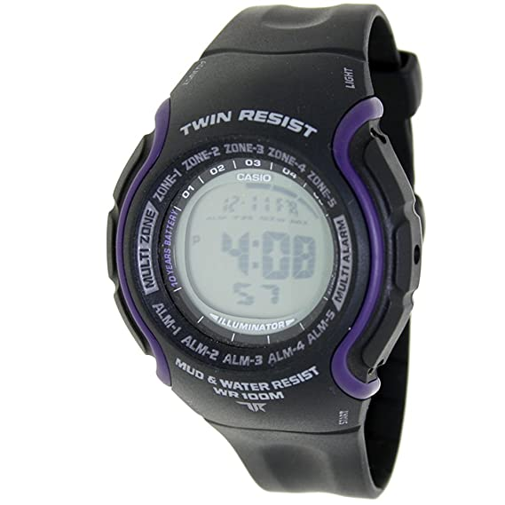 CASIO TRT-101H-1A - Reloj digital Twin Resist - 5 Alarmas, Crono, Cuenta Regresiva, Horario Mundial, Sumergible - Caucho color negro y morado: Amazon.es: ...