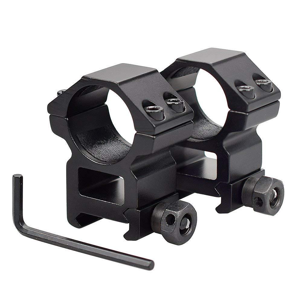 Black Low Profile 1 inch 25.4mm Scope Ring Mount 20mm Picatinny Weaver Rail