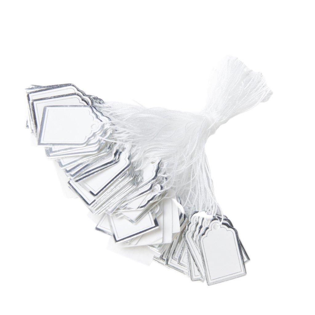 Blanc et dArgent 500pcs /Étiquettes de Prix avec Cordes Suspendues Affichage de Vente de Bijoux Anneaux