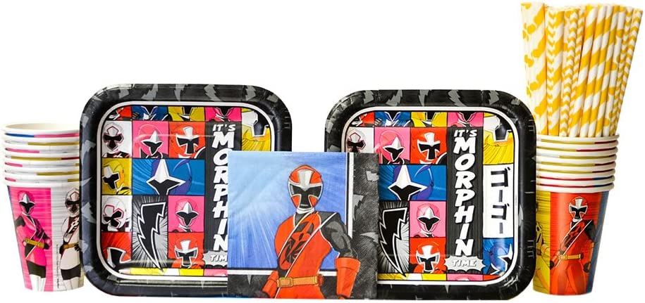Power Rangers Ninja Steel Party Supplies Pack for 16 Guests - Straws, Dessert Plates, Beverage Napkins, and Cups