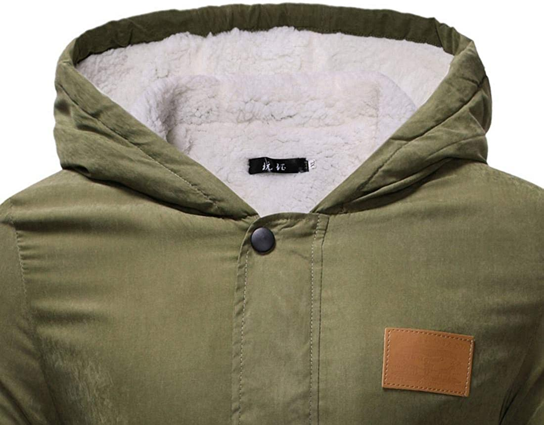 MU2M Men Quilted Padded Coat Hooded Warm Sherpa Lined Parka Outdoor Down Jacket