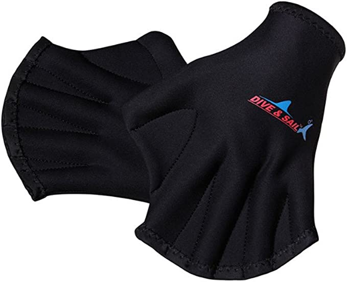 WINOMO 1 Pair Webbed Swimming Gloves Aquatic Traning Fit Paddles Water Resistance Diving Hand Web (Black)